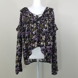 BP. Long Sleeve Flower Rufle Blouse Size L